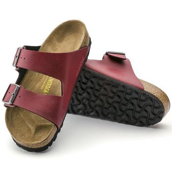 Sale Birkenstock Arizona Birko Flor Pull Up Bordeaux 1000172/1000176 Sandals