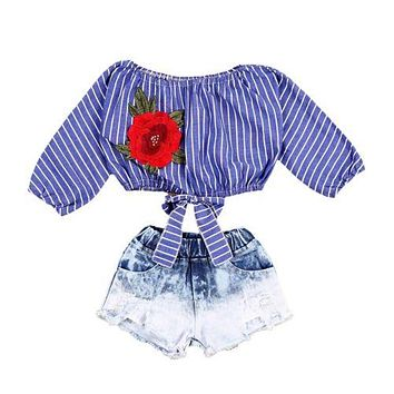 Kid Baby Girls Clothes Sets Crop Tops Shirts Blouse Flower Striped Denim Short Jeans Clothing Set Girl Outfits
