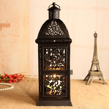 Large Black Retro Metal Candle Holder Candle Lamp Light Box Hanging Home TY224