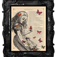 ALICE Book print Alice in Wonderland Alice playing with butterflies print on Vintage Dictionary Antique Book page art print