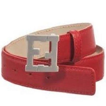 FENDI kids red leather belt with silver Fendi logo size 3 NWT $295