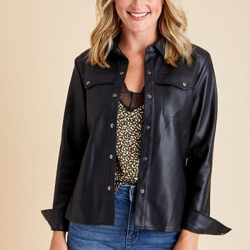 BB Dakota Way Out West Faux Leather Shirt