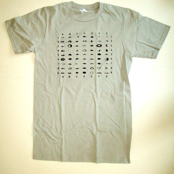 Table of Recorded UFO Shapes T Shirt S M L XL light gray geek alien space
