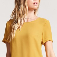 Cuffed-Sleeve Chiffon Top