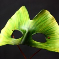Green Ginko Leaf Handmade Leather Mask by kennosborne on Etsy