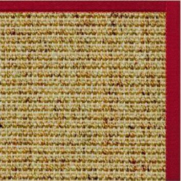 Spice Sisal Rug with Poppy Red Cotton Border