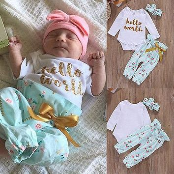 Cute Newborn 3 6 12 18 Months Clothes Baby Girls Clothes Set Casual Flower Bodysuit Babygrows Baby Girl Clothing Outfits