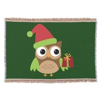 Santa Owl Cute Christmas Illustration Throw Blanket