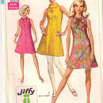 Vintage Easy to Sew Simplicity 7625, , Misses Mini Dress, Size 12
