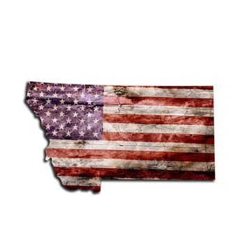 Montana Distressed Tattered Subdued USA American Flag Vinyl Sticker