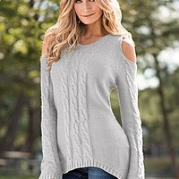 Light Grey (LURK) Cable Detail Sweater Tunic