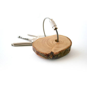 Birch wood keychain with stainless steel cable by naneHandmade