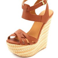 Crisscrossing Ankle Cuff Woven Wedge Sandals - Cognac