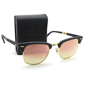 Ray-ban Rb2176 Folding Clubmaster Flash Gradient Unisex Sunglasses Matte Black Frame/brown Pink Mirror Gradient Lens 901s7o 51 - Beauty Ticks