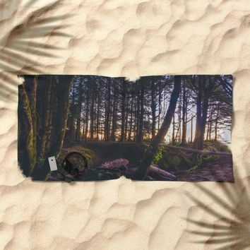 Wooded Tofino Beach Towel by Mixed Imagery