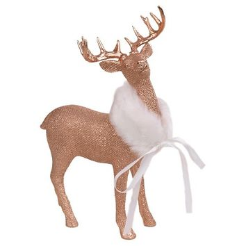Threshold Copper Resin Deer w/ Burlap Pattern - Small
