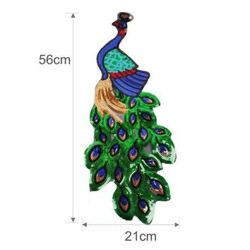 CREYN3C FENGRISE Sequin Embroidery Peacock Patch Sewing On