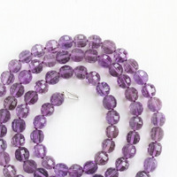 Vintage Art Deco Genuine Amethyst Beaded Necklace - Faceted 300+ Carat Purple Gemstone Bead 14k Gold White Clasp Fine Single Strand Jewelry