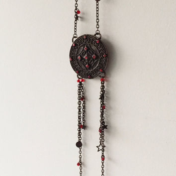 Antique Bronze Long Necklace/Bronze Jewelry/Red Beaded Necklace/Chain Necklaces/Gifts for Her/Jewelry for Stylish Women