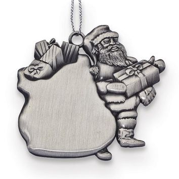 Engravable Pewter Santa with Gifts Ornament