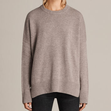 ALLSAINTS US: Womens Dasha Cashmere Crew Sweater (OATMEAL BROWN)