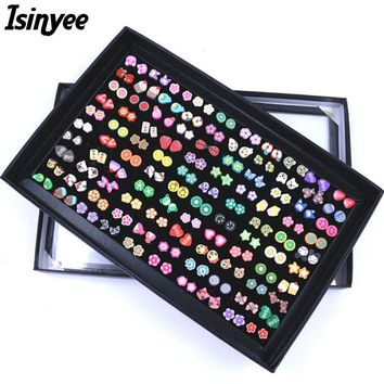 ISINYEE Fashion Fruit Animal Flower Stud Earrings Set For Kids Small Handmade Polymer Clay Ear Trendy Jewelry 100 Pairs With Box