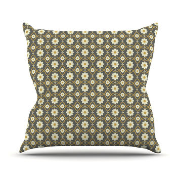 "Nandita Singh ""Floral Grey"" Brown Pattern Throw Pillow"