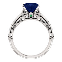 *Clearance* Cubic Zirconia Engagement Ring- The Martha (1.5 Carat Imitation Princess Sapphire Setting with Pave Band in 14K White Gold)