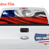 Chile Flag National Country Full Color Print Perforated Film Truck SUV Back Window Sticker Perf024