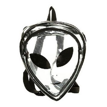 Clear Backpacks popular 2016 New Unisex Fashion Clear Cartoon Alien School Bags PVC Special Package Interest Backpacks Hip-Hop Leisure Travel Bag BP085 AT_62_4