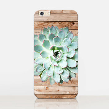 Succulent Wood Print Phone Case-iPhone 6 Case-iPhone 5 Case-iPhone 4 Case - Samsung S4 Case - iPhone 5C - Tough Case - Matte Case - Samsung