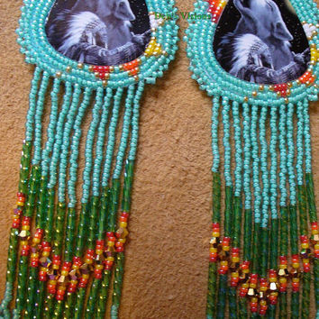 Chief with howling Wolf beaded rosette earrings