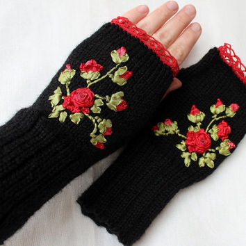 Hand Knitted Fingerless Gloves, Gift Ideas, For Her, Winter Accessories, Gloves & Mittens, Rose, Red, Black, Green, Ribbon Embroidery