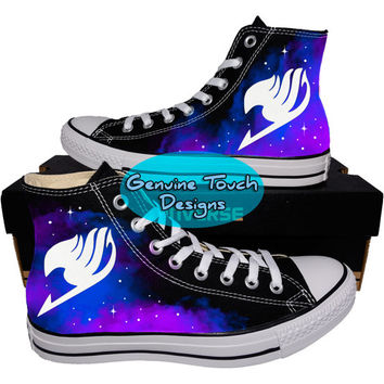 Custom Converse, Fairy Tail, Galaxy shoes, Anime shoes, Custom chucks, painted shoes, personalized converse hi tops
