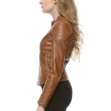 Women short faux leather jacket Brown black SML slim fit motorcyle leather coat female outwear clothe casual autumn High quality