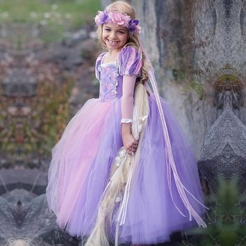 Kids Girls Princess sofia Rapunzel Dresses Full Ball Gown Long Party Dress Children Clothing Kids Cosplay Costume Masquerade