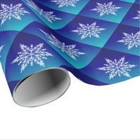 SNOWFLAKE on Blue Wrapping Paper