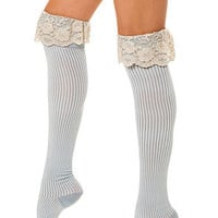 K. Bell Socks Enchanted Lace Over The Knee in Blue