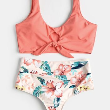 Sexy Swimwear Swimsuit High Rise Knotted Floral Scrunch Bikini Set Scoop Neck Padded Bathing Suit Beach Suit