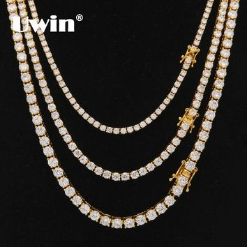Uwin 3mm 4mm 5mm Round Cut Iced Out Cubic Zirconia Tennis Link Chain Hiphop Top Quality CZ Box Clasp Necklace Women Men Jewelry