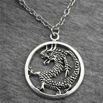 WYSIWYG 37x32mm Round Chinese Dragon Pendant Necklace, Fashion Jewelry Gift For Women Dropship Products
