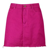 Magenta Denim Skirt | Boohoo