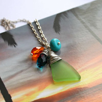 SPECIAL Price - Sea Glass Necklace with bright green seaglass, Hawaiian jewelry by Mermaid Tears
