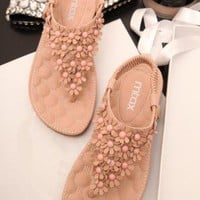 Flower Embellished Flat Sandals 060510