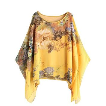 Yellow Chiffon Blouse Women Floral Kimono Sleeve Casual Brief Summer Tops New Long Sleeve Irregular Blouse