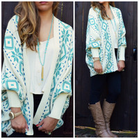 SZ SMALL Weekend Expedition Ivory & Teal Dolman Sleeve Cardigan