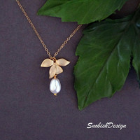 Orchid Jewelry  Swarovski Pearl  Gold Orchid by SnobishDesign