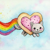 Nyan Cat Love Heart-Shaped Pop-Tart
