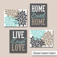 WALL ART Canvas or Prints Live Laugh Love, Home Sweet Home, Quote Decor  Picture Flower Burst Floral, Choose Colors, Home Decor, Set of 4