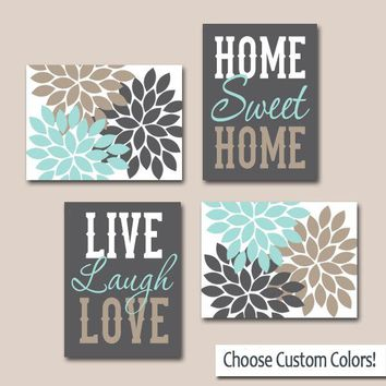 WALL ART, CANVAS or Prints, Live Laugh Love, Home Sweet Home, Quote Decor  Picture Flower Burst Floral, Choose Colors, Home Decor, Set of 4